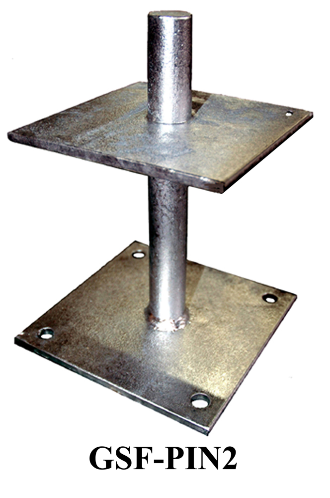 Galvanised Steel Flanged Pin 200mm high to receive a 150mm x 150mm post GSF-PIN2