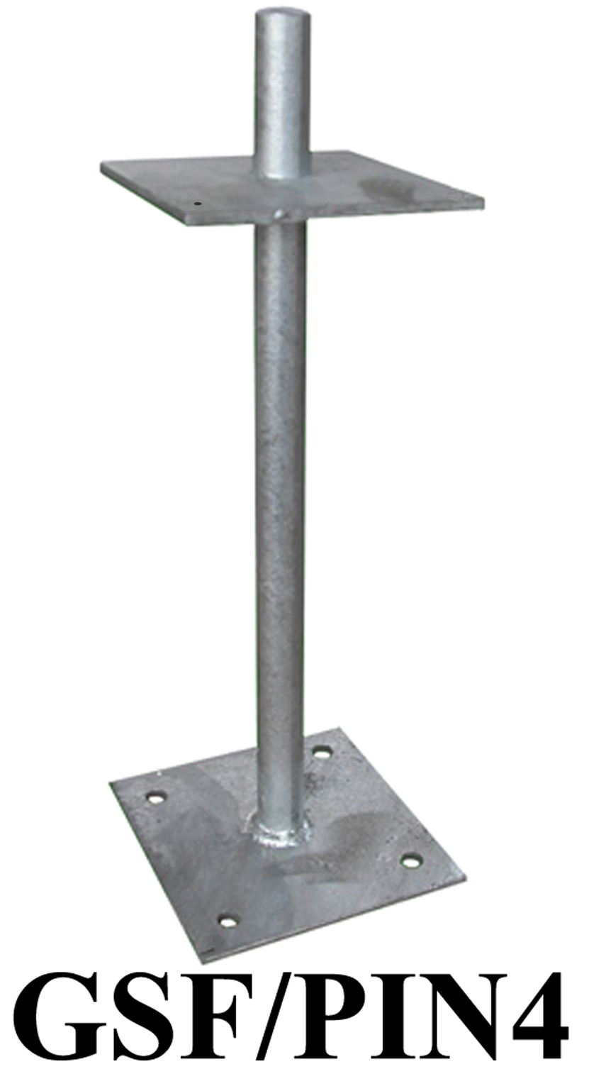 Galvanised Steel Flanged Pin 420mm high to recieve post size 150mm x 150mm GSF-PIN4