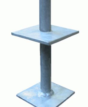 Galvanised Steel Flanged Pin 210mm high to receive post size 100mm x 100mm GSF-PIN
