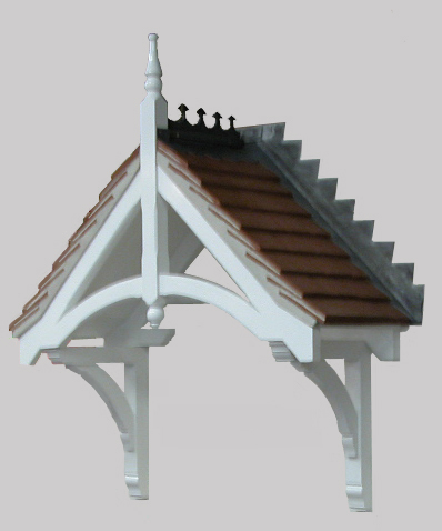 Holcombe Dual pitch Durotile roof timber door canopy 1440mm wide, projection 530mm F- PCS-GRP-H1