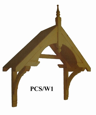 Walmersley period dual pitch timber door canopy, 1340mm wide, 505mm projection- F-PCS-W1