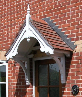 Walmersley period dual pitch timber door canopy, 2195mm wide, 700mm projection- F-PCS-W2