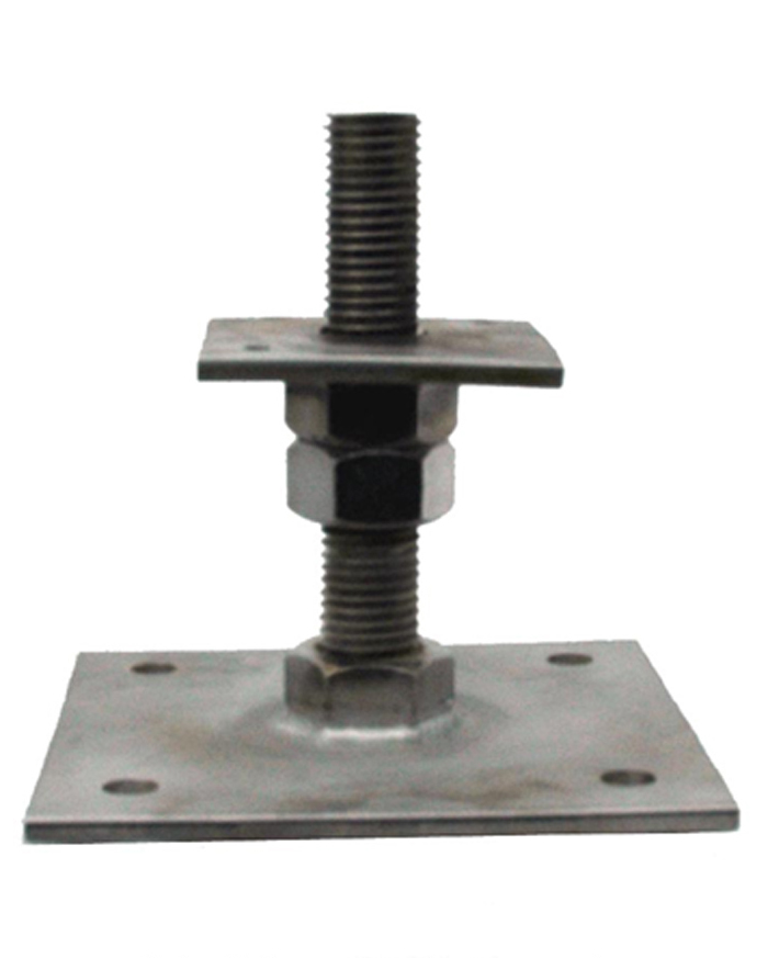 Stainless Steel Adjustable post base, 150mm high, plate size 80mm x 80mm SSB1P1