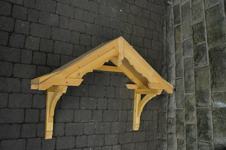 Turton period dual pitch timber door canopy low headroom, full finial,1680mm wide, 500mm projection F-T2