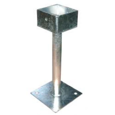 Galvanised Steel Cup Post Base. 330mm high To recieve post size 100mm x 100mm GSS-A