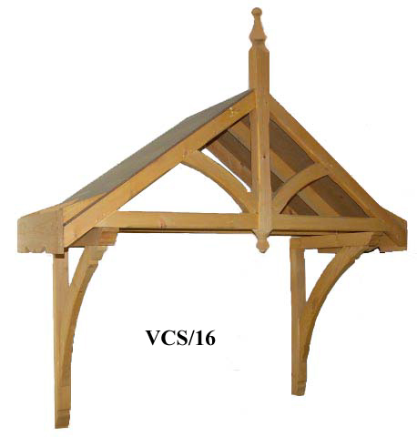 Victorian period dual pitch timber door canopy, 1590mm wide, 570mm projection- F-VCS-1